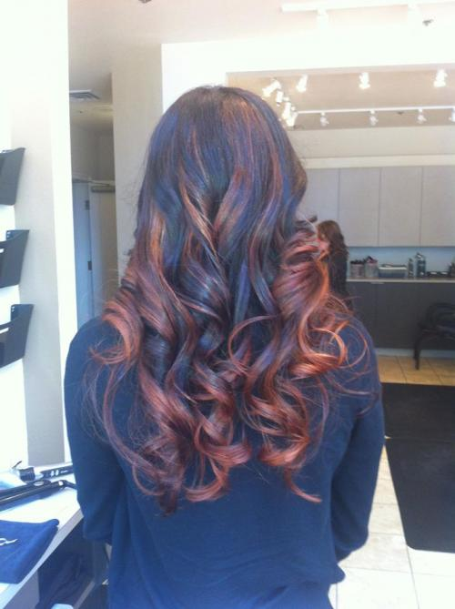 Balayage hair color, dark to red