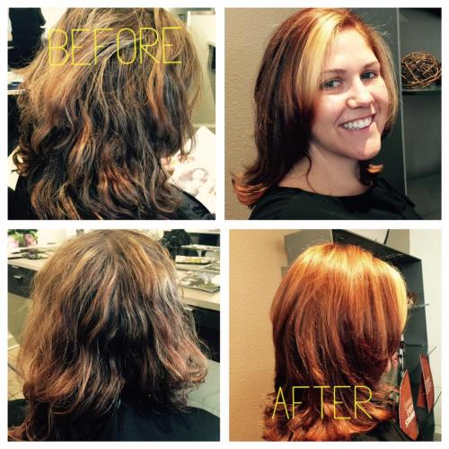 Before and after hair, color correction, dosha salon