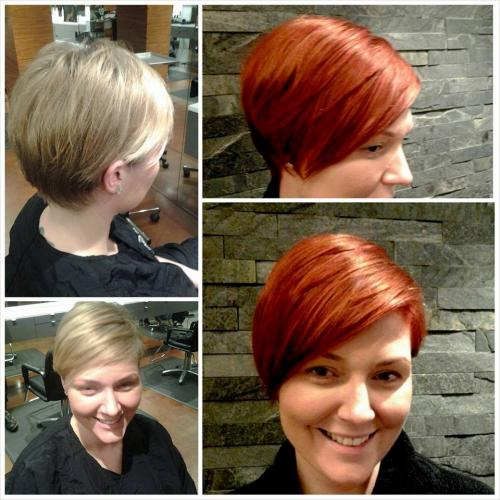 blonde to red haircolor model, dosha salon,
