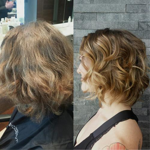 Short Hair, Graduated Haircut, Blonde Balayage Color, Dosha Salon Spa