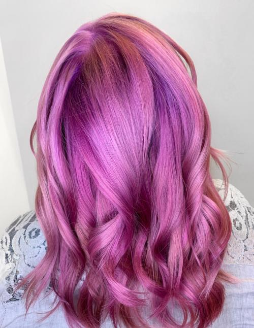 hair color, fashion color, pink hair, bright, vivid, aveda color
