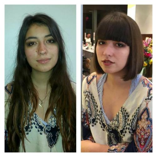 Before and after hair, LONG TO SHORT, BANGS, DOSHA