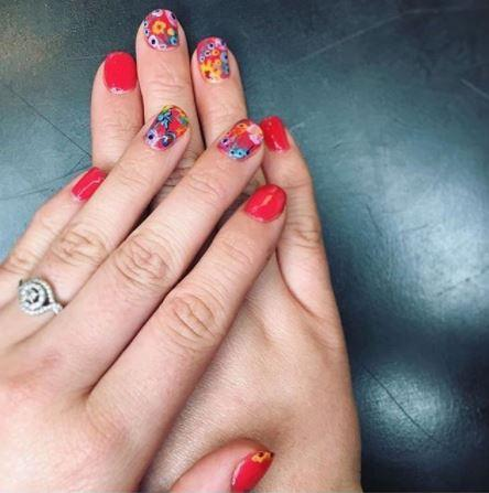 Floral Flower Nails Art design Portland PDX Spa Salon Dosha