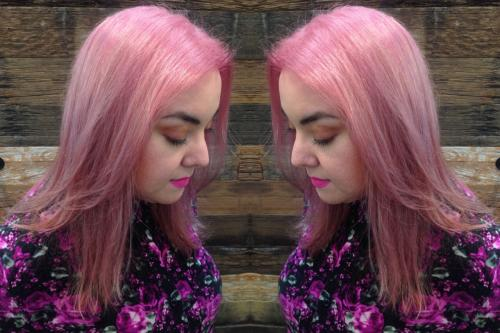 pink hair, aveda hair color, pastel colored hair, dosha salon spa