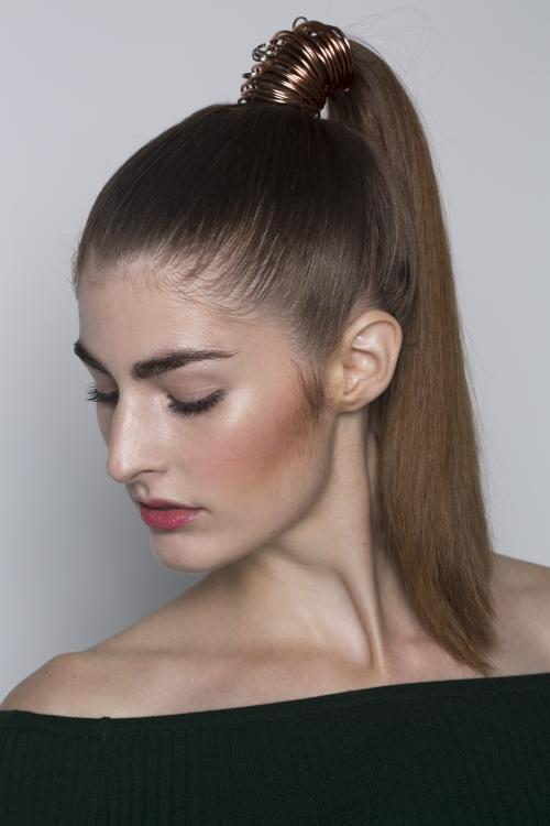 sleek, ponytail, pony, metal, accessories, smooth, high ponytail, straight, brunette, dosha, dosha creative team, aveda