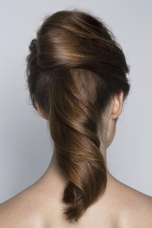 sleek, curly, updo, chignon, brunette, wavy, smooth, ponytail, pony, date night, hair style, dosha, aveda, dosha creative team