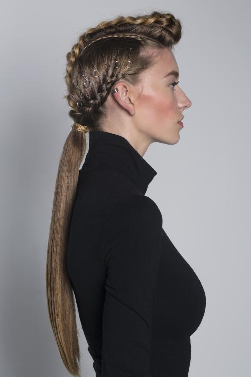 edgy, hardware, pony, ponytail, braid, updo, accessories, pins, hairstyle, aveda, dosha, salon spa, dosha creative team, french braid