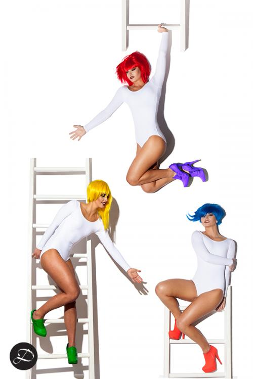 Colorful Wig Photoshoot red blue yellow white ladder bodysuit