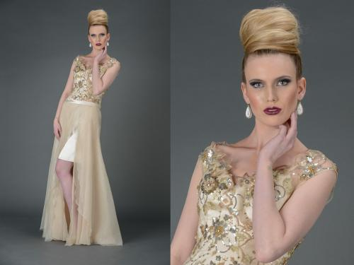 Top knot, hair styling, Cocoon Silk Dress