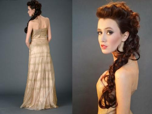 Cocoon Silk Designer Gown, Side Braid Model