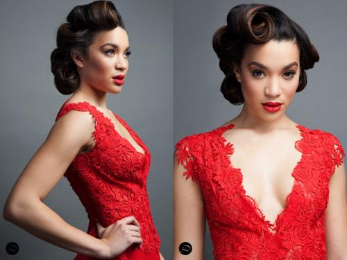 Red dress, retro hairstyle, stephanie D'Courture Gown
