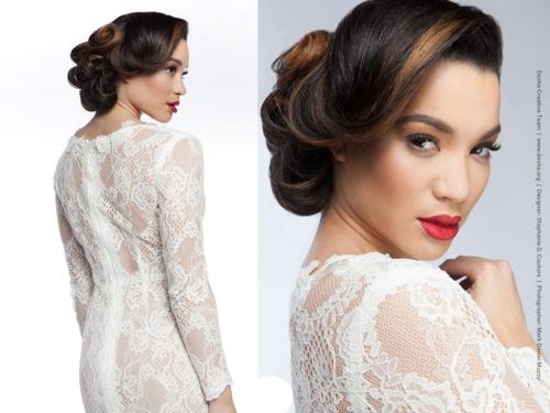 stephanie D'couture gown, retro hairstyle, bride