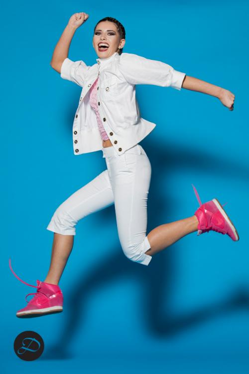 Dosha Creative Team Spring Color editorial white denim pink high top sneakers