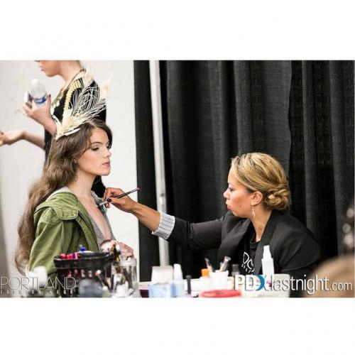 makeup application, behind the scenes Portland Fashion Week 2014