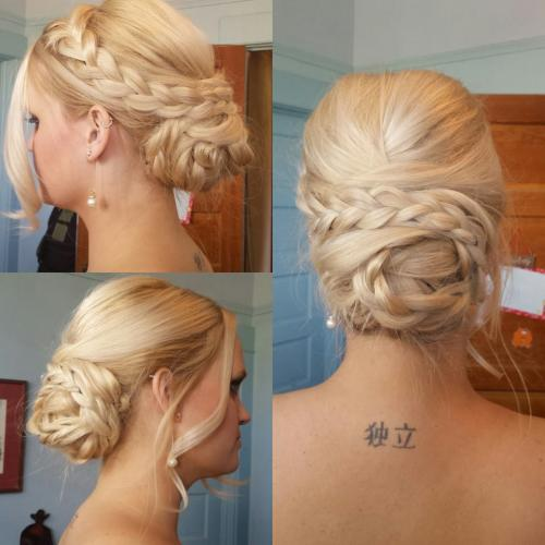Bridal updo, braided bun, messy bun
